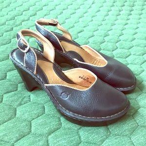 Born Leather Heels Clog Style heel Comfy  Sz 7